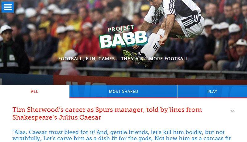 Project Babb screengrab - Telegraph football